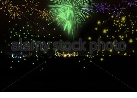 Fireworks on New Year's Eve over the Signal Iduna Park in Dortmund / Germany - Stock Photo