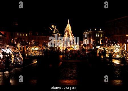 Vilnius, Lithuania - December 09, 2019: Christmas tree and Christmas market in Town Hall, Vilnius, Lithuania - Stock Photo