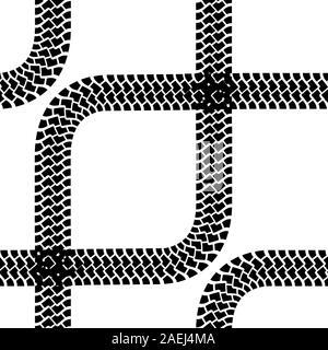 Seamless wallpaper tire tracks pattern illustration vector background - Stock Photo