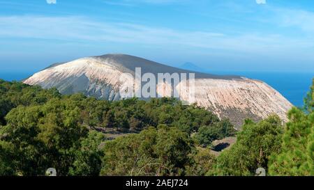 panoramic view of the vulcano volcano, aeolian islands, italy - Stock Photo