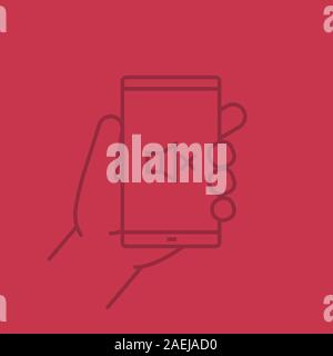 Hand holding smartphone color linear icon. Smart phone sound off. Thin line outline symbols on color background. Vector illustration - Stock Photo