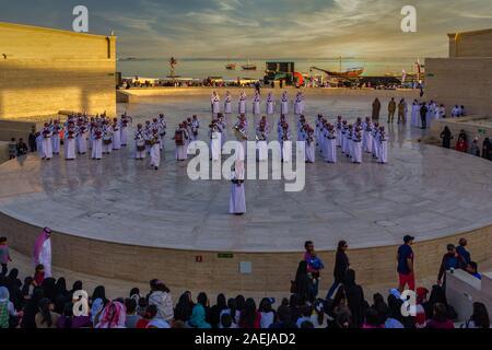 Doha,Qatar-December 19,2013: Qatar military national band celebrating Qatar national day in The Amphitheater in Katara Cultural Village - Stock Photo