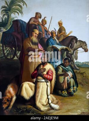 The Baptism of the Eunuch 1626 Rembrandt Harmenszoon van Rijn 1606–1669 Dutch, The Netherlands, Holland, (  Philip the Evangelist baptising an Ethiopian man, a eunuch, on the road from Jerusalem to Gaza, start of the Ethiopian Church. ) - Stock Photo