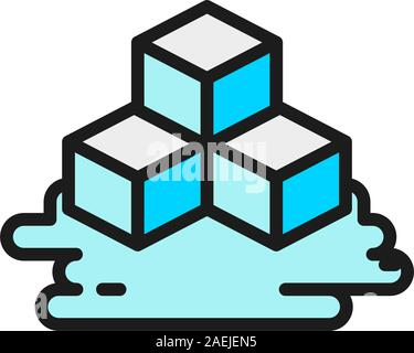 Three ice cubes flat color line icon. Isolated on white background - Stock Photo