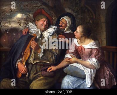 The Robbed Violin Player by, Jan Havickszoon Steen, 1626 - 1679, Dutch, The Netherlands Holland. - Stock Photo