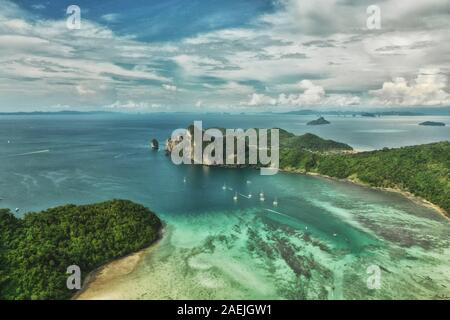 Paradise Phi-Phi Island natural park reservation in Thailand Drone flight