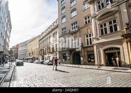Prague, Czech republic - July 04, 2018. Dlouha street with cobble stones in sunset Stock Photo