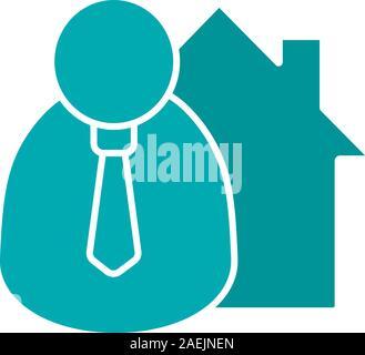 Broker, realtor glyph color icon. Real estate market agent. Silhouette symbol on white background. Negative space. Vector illustration - Stock Photo