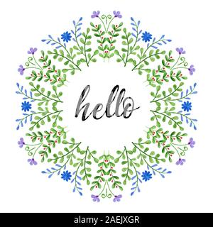 Watercolor wreath with Hello text. Hand painted branches and flowers. Spring floral elements - Stock Photo