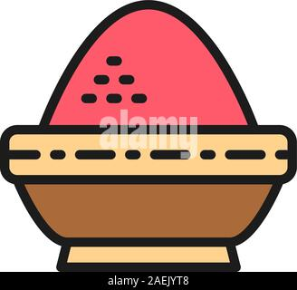 Rice in bowl, indian cuisine flat color line icon.