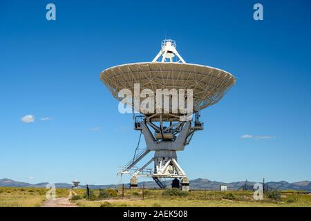The Karl G. Jansky Very Large Array (VLA) is a centimeter-wavelength radio astronomy observatory located in central New Mexico on the Plains of San Ag - Stock Photo