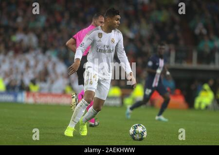 during the UEFA Champions League, Group A football match between Real Madrid CF and Paris Saint-Germain on November 26, 2019 at Parc des Princes stadium in Paris, France - Photo Laurent Lairys / DPPI - Stock Photo