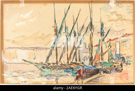R-20100520-0032.jpgPaul Signac, St Tropez, 1906 Paul Signac (French, 1863 - 1935), St Tropez, 1906, watercolor and gouache over black chalk on laid paper, The John U. and Evelyn S. Nef Collection 2011.60.16 - Stock Photo