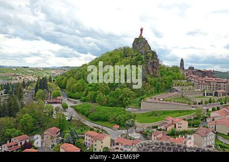 The view on the iron statue of Notre-Dame de France (The Virgin Mary) in Puy-en-Velay, France - Stock Photo