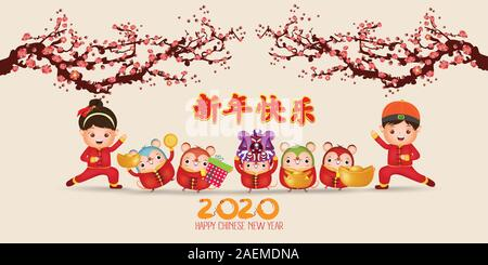 Happy Chinese new year 2020 , year of rat , Cute Rat , happy boy and girl standing , Cartoon Style. Translation Happy New Year - Stock Photo