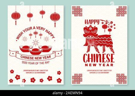 Set of Happy Chinese New Year 2020 poster, flyer, greeting cards. New Year felicitation classic postcard. Chinese sign year of rat greeting card. Banner for website template. Vector. - Stock Photo