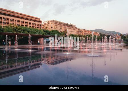Nice, France, September 6, 2018:  The illuminated Miroir d'eau fountain on the promenade du Paillon in the center of Nice - Stock Photo