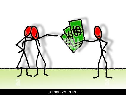 Loan of money between private individuals - concept image with illustration drawn by freehand