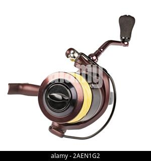 Fishing reel isolated on white. Field with Clipping Path - Stock Photo