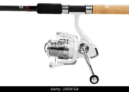 Fishing tackle isolated on white. Field with Clipping Path - Stock Photo