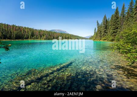 Turquoise Lake, Valley of the Five Lakes, Jasper National Park, back mountains, Alberta, Canada