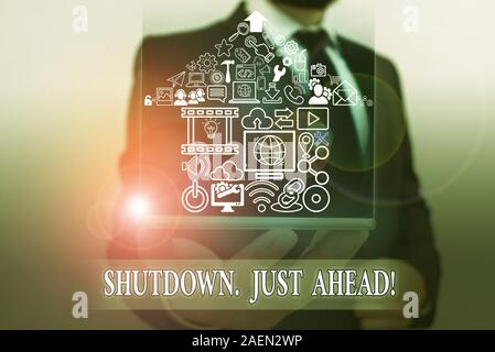 Word writing text Shutdown Just Ahead. Business photo showcasing closing factory business either short time or forever - Stock Photo
