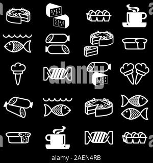 set of vector silhouettes of icons on the food theme - Stock Photo