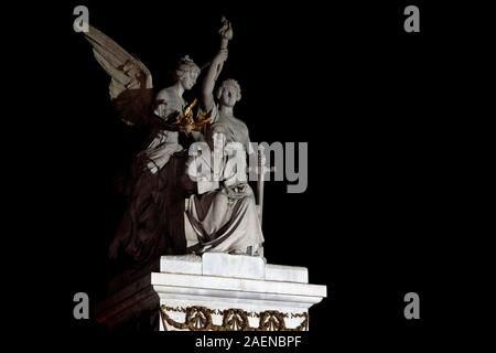 Benito Juarez Hemicycle is a Neoclassical monument in Mexico City. Inscription english transalation 'To the meritorious Benito Juárez, the Homeland' - Stock Photo