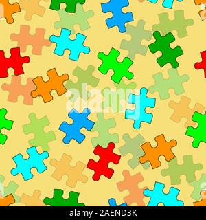Beautiful  seamless wallpaper with jigsaw puzzle, vector illustration - Stock Photo