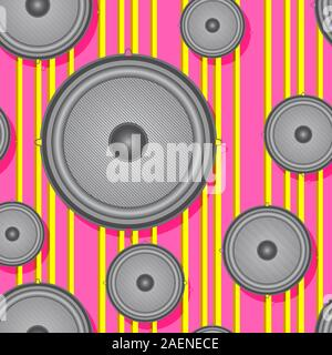 Speakers seamless background. Vector illustration. - Stock Photo