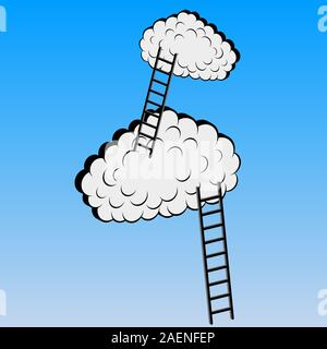 Clouds with stairs, vector illustration