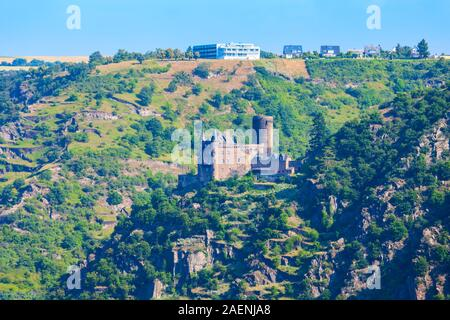 Katz Castle or Burg Katz is a castle ruin above the St. Goarshausen town in Rhineland-Palatinate region, Germany - Stock Photo