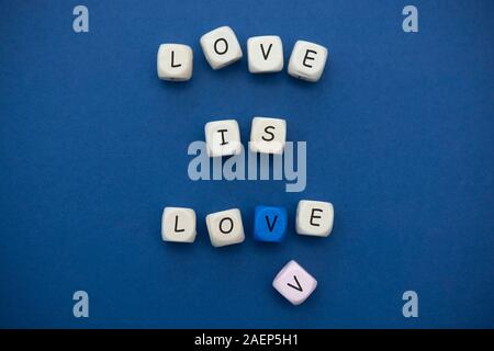 Love is love message written on wooden blocks over blue background. - Stock Photo