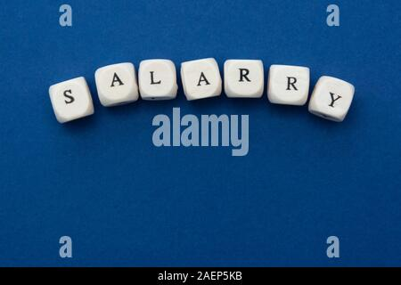 Salary word on blocks over blue background with copy space. Finance concept.
