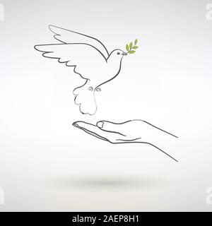 dove of peace flies to the open palm of man on a light background - Stock Photo