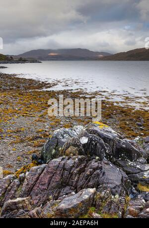 Moody sky above lakeshore with volcanic, basalt rocks and yellow weed growth.Idyllic landscape of Scotland,UK.Tranquil Scottish wilderness in autumn. - Stock Photo