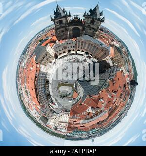 Little Planet Effect - Old Town Square, Prague - with a twist! - Stock Photo