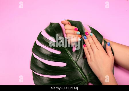 Ideal trendy neon manicure with green monstera leaf on pink background. Beauty concept. - Stock Photo
