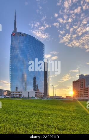 The modern district of Porta Nuova with Unicredit tower, Milan, Italy - Stock Photo