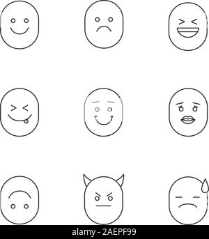 Smiles linear icons set. Thin line contour symbols. Good and bad mood emoticons. Smiling, laughing, sad, yummy, upside down, kissing, devil, disappoin - Stock Photo