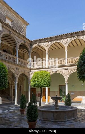 16th century Renaissance courtyard of Jabalquinto Palace, Baeza, Jaen Province, Andalusia, Spain.  The palace houses the Antonio Machado campus of the - Stock Photo