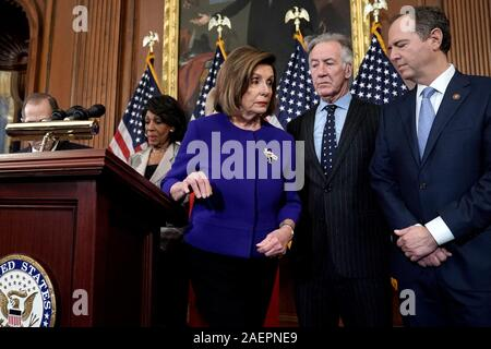 Washington DC, USA. 10th Dec, 2019. Speaker Nancy Pelosi (D-Calif.) is seen during a press conference on Tuesday, December 10, 2019 to announce that the House will introduce two articles of impeachment against President Trump for abuse of power and obstruction of justice. Photo by Brian Elliott/UPI Credit: UPI/Alamy Live News - Stock Photo