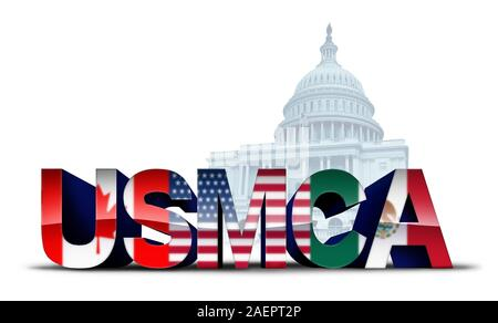 USMCA USA legislation trade agreement or the new NAFTA United States Mexico Canada with north america flags as a deal negotiation and economic deal. - Stock Photo