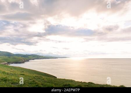Steep coast at sunset on the northern coast of Spain. concept tourism and nature - Stock Photo