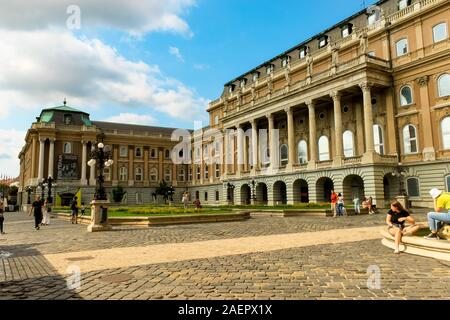 BUDAPEST, HUNGARY 29 JULY 2019: Buda castle ,Royal Palace inner courtyard natural background view - Stock Photo