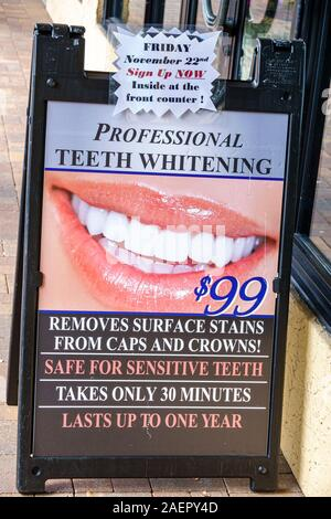 Florida Palm Beach Gardens teeth whitening ad marketing sign - Stock Photo