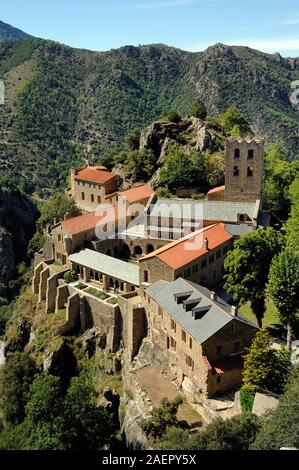 Aerial View or High-Angle View of Abbaye Saint-Martin du Canigou Abbey or Benedictine Monastery, f. c10th by Guifred II, Pyrénées-Orientales France - Stock Photo