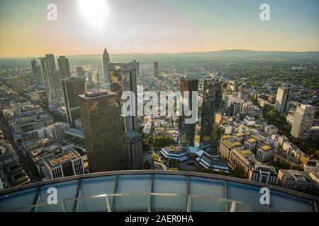 Frankfurt Skyline in the Sun - view from Maintower - Stock Photo