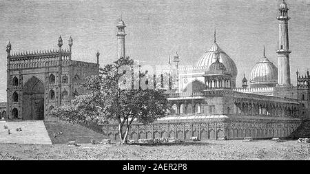 Masjid e Jahan Numa, World-reflecting Mosque, the Jama Masjid of Delhi, is one of the largest mosques in India  /  Freitagsmoschee, Jama Masjid, in Delhi ist die größte Moschee Indiens, Reproduction of an original 19th century print / Reproduktion von einem Originaldruck aus dem 19. Jahrhundert