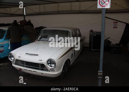 1965 Ford-Lotus Consul Cortina Mk1 BSCC driver Stuart Clark jtw497c Goodwood Motor racing Chichester West Sussex - Stock Photo